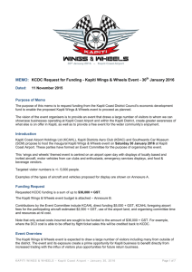 MEMO: KCDC Request for Funding - Kapiti Wings & Wheels Event