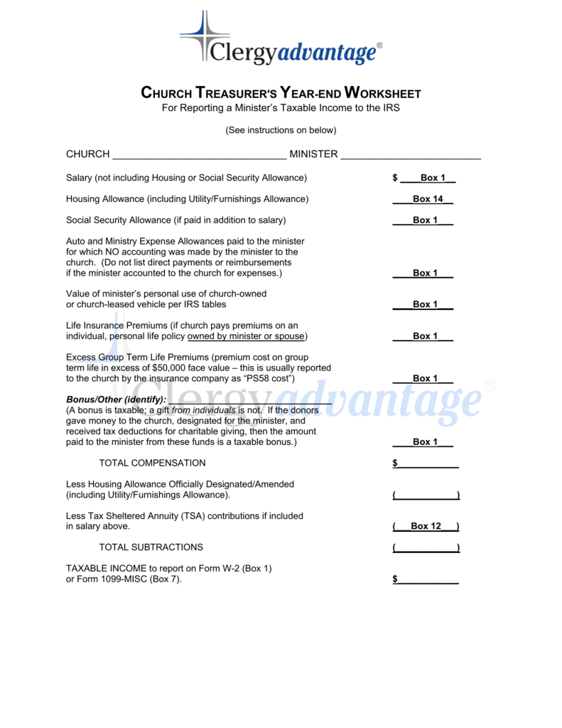 Church Treasurers Year End Worksheet