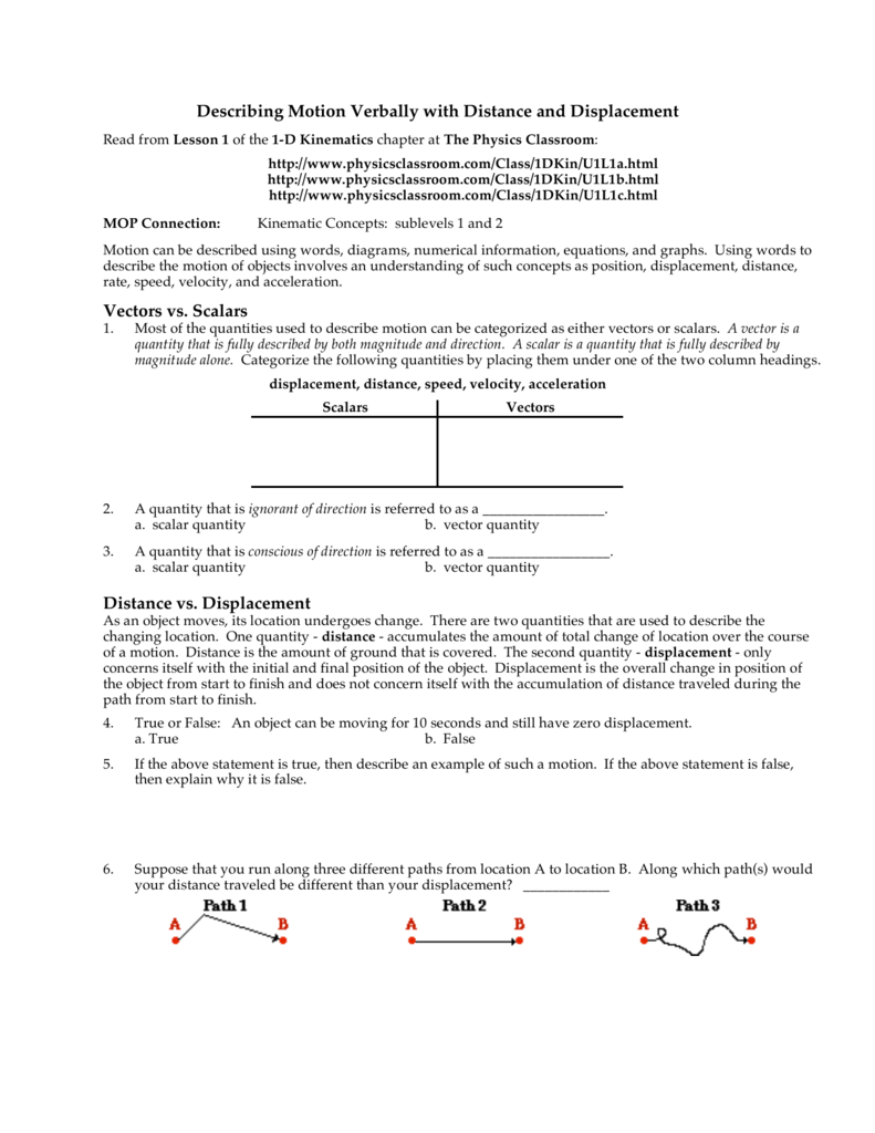 favorite distance and displacement worksheet with answers. Black Bedroom Furniture Sets. Home Design Ideas