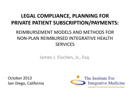 Legal compliance, PLANNING for PRIVATE PATIENT