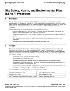 Site Safety, Health, and Environmental Plan (SSHEP