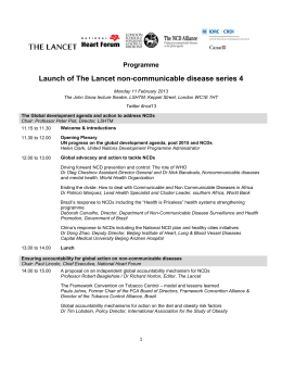 Launch of The Lancet non-communicable disease series 4