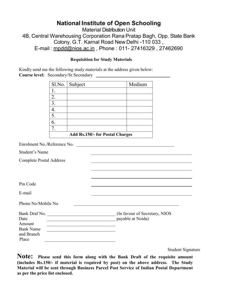 Requisition Form For Study Material The National Institute Of Open House Wiring Books In Tamil