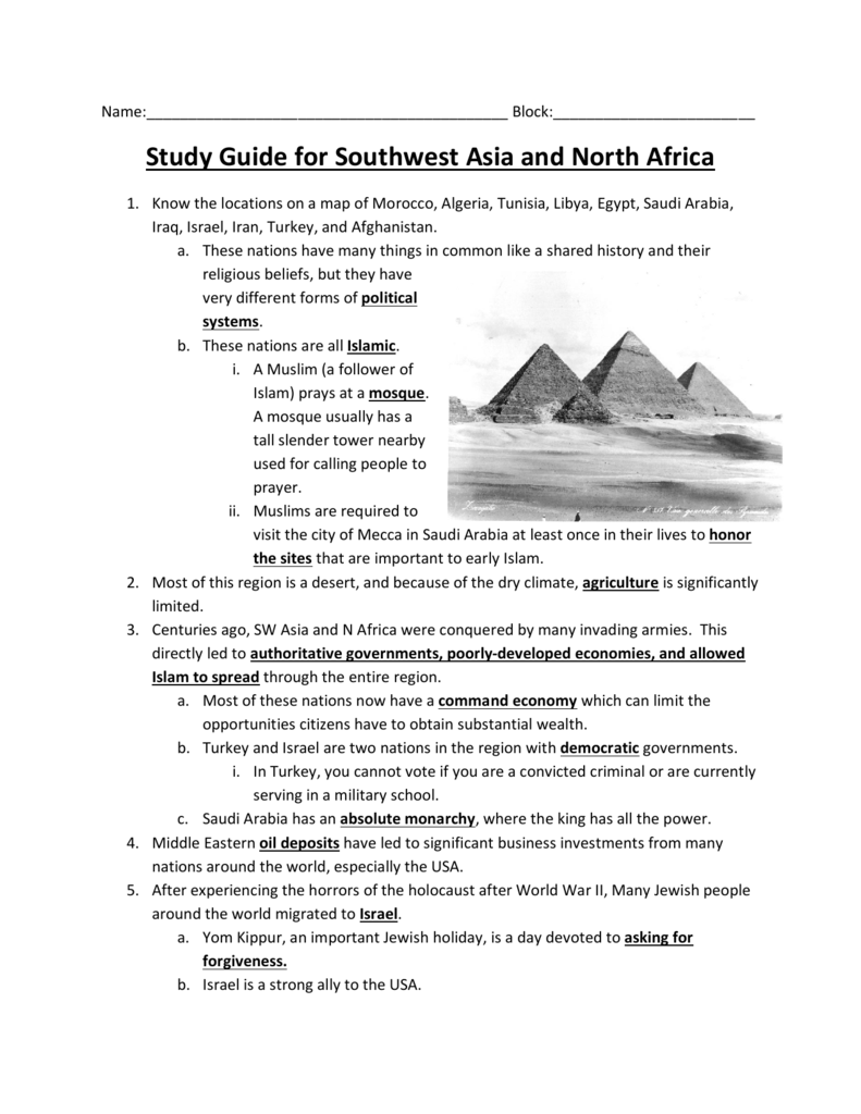 Study Guide for Southwest Asia and North Africa
