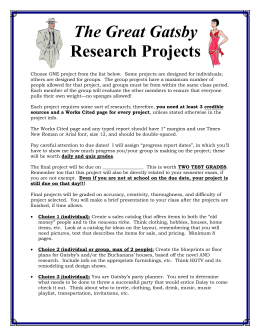 The Great Gatsby Research Projects