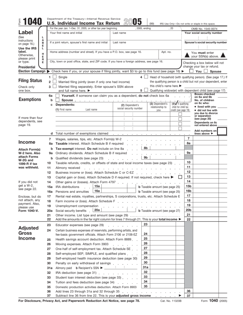 2005 form 1040 tax history project falaconquin