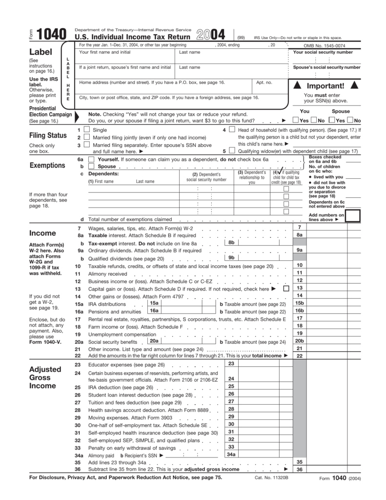 Form 1040 tax history project falaconquin