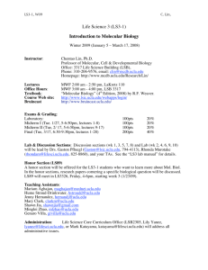 Life Science 3 (LS3-1) Introduction to Molecular Biology