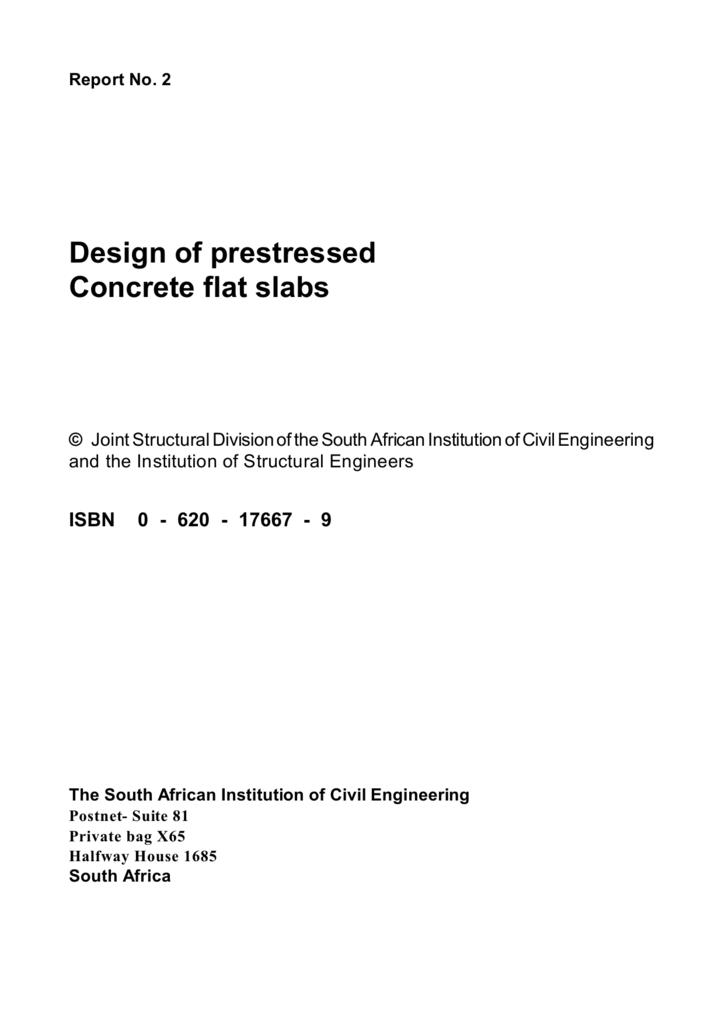Design of prestressed concrete flat slabs.