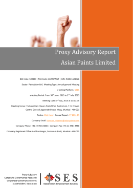 Proxy Advisory Report Asian Paints Limited