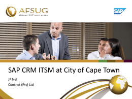 SAP CRM ITSM at City of Cape Town