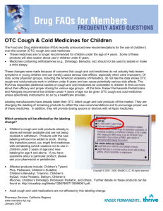 OTC Cough & Cold Medicines for Children