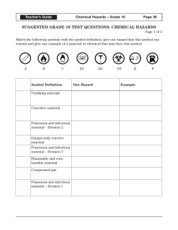 Science 9 WHMIS Lab Safety Info Complete the following worksheet