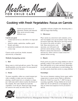 Cooking with Fresh Vegetables: Focus on Carrots