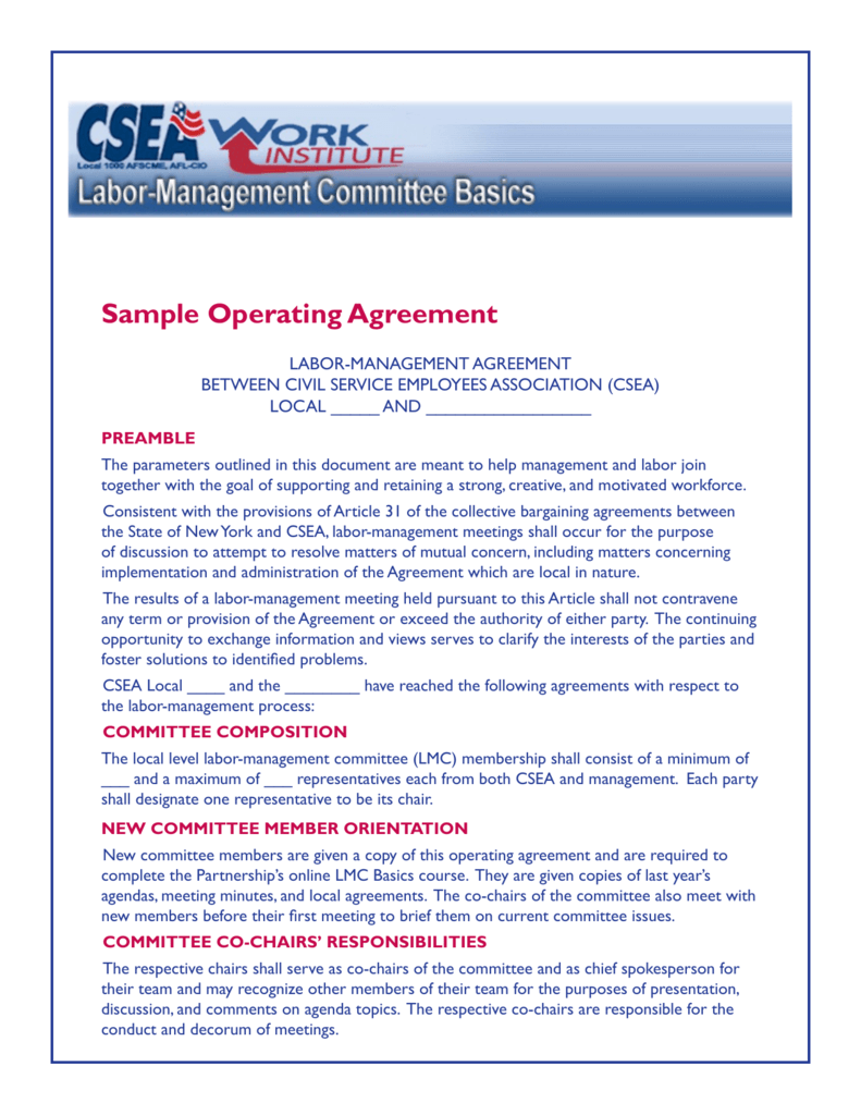 Sample Operating Agreement