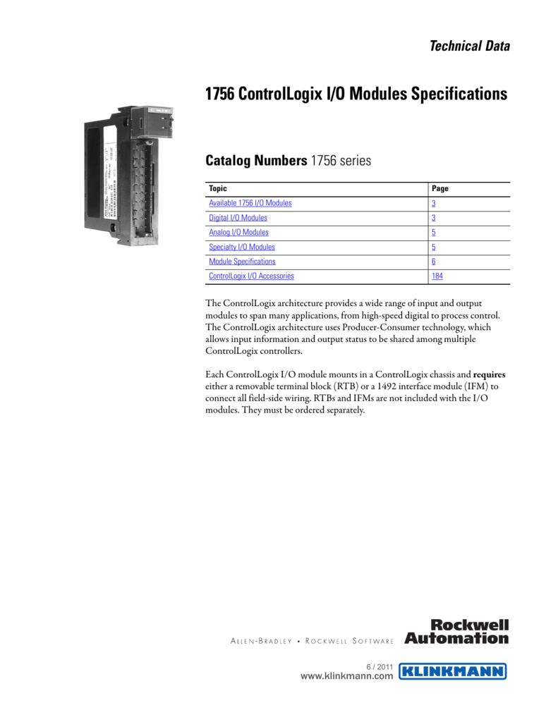 1756 Controllogix I O Modules Specifications