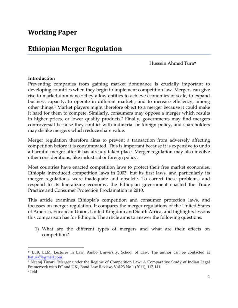 Ethiopian Merger Regulation PDF 498kB