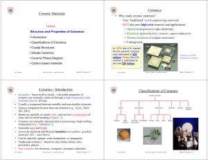 Ceramic Materials Ceramics Ceramics / Introduction Classifications