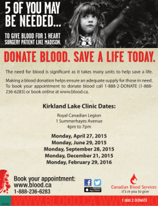 Blood Donor Clinics for Kirkland Lake 2015-2