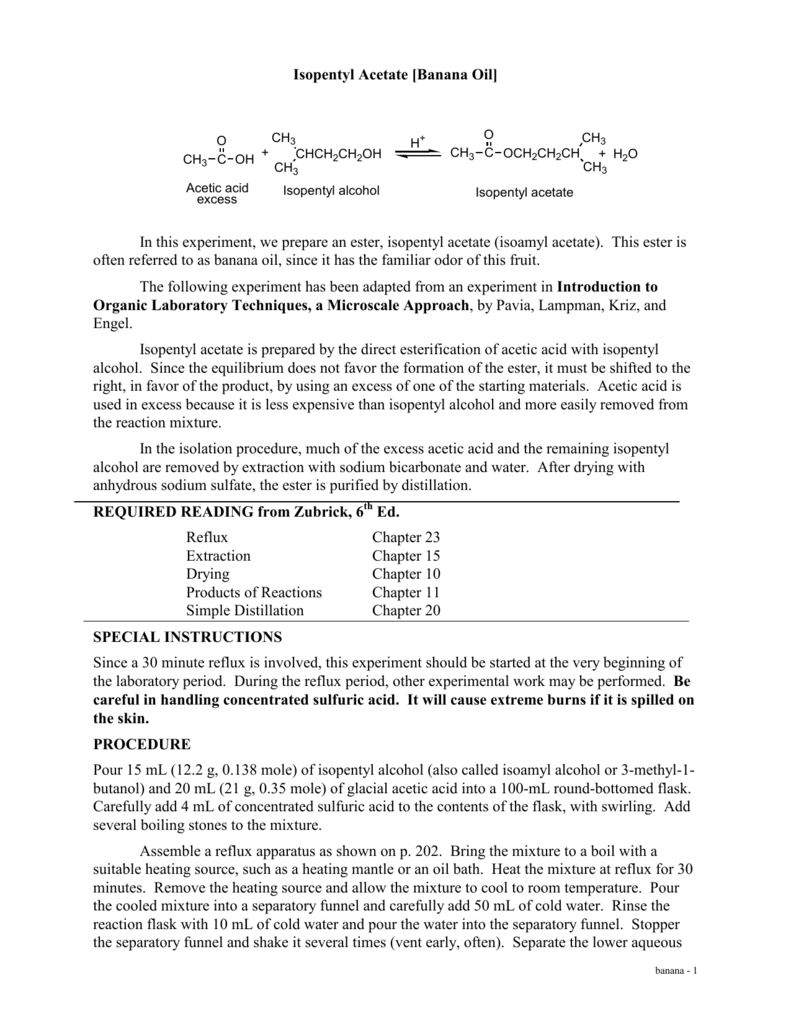 isopentyl acetate synthesis essay Ester synthesis lab (student handout) lab report components:  in the case of ethyl acetate, r 1 is a ch 3 group and r 2 is a ch 3ch 2 group.