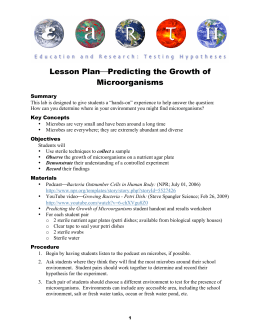 Lesson Plan  Predicting the Growth of Microorganisms