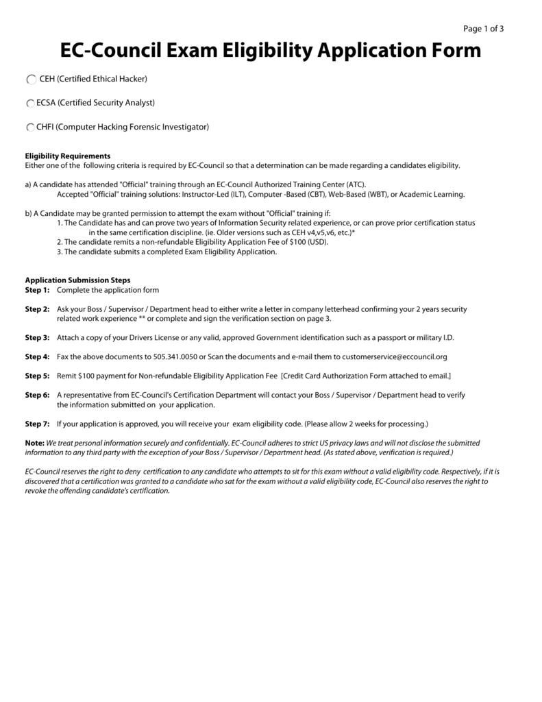 EC-Council Exam Eligibility Application Form