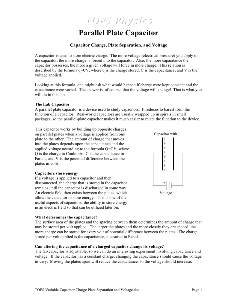 Capacitor Charge, Plate Separation, and Voltage
