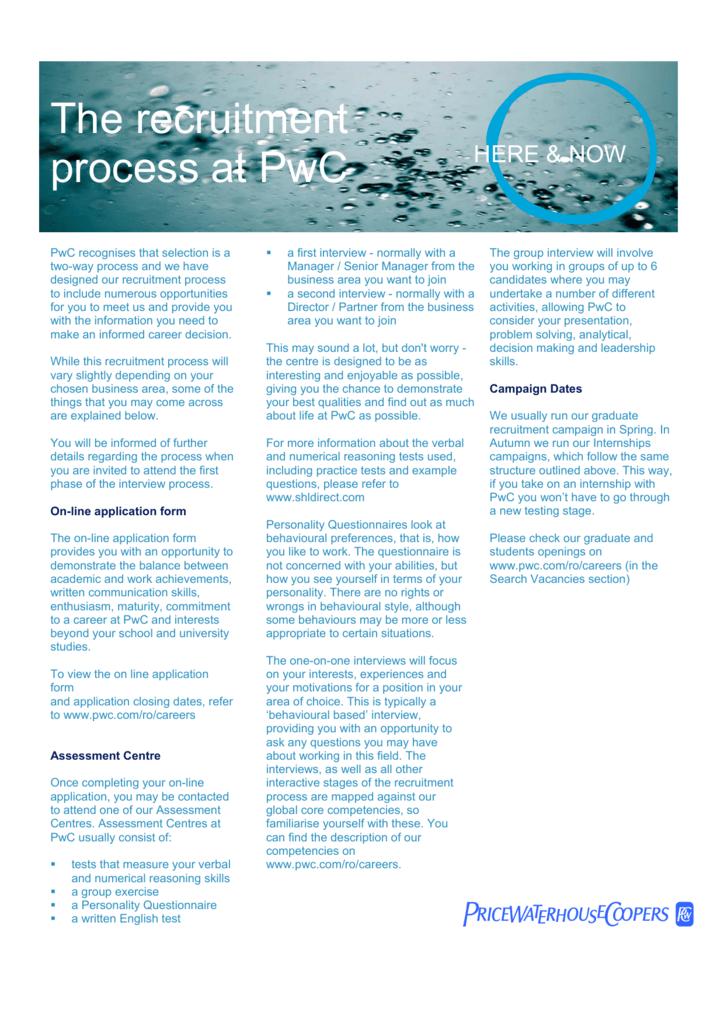 The recruitment process at PwC