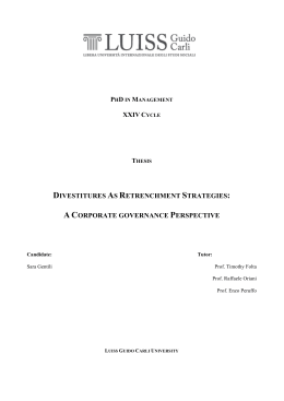 DIVESTITURES AS RETRENCHMENT STRATEGIES: A