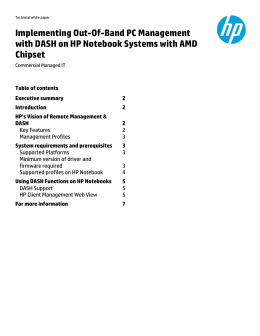 Implementing Out-Of-Band PC Management with DASH on HP
