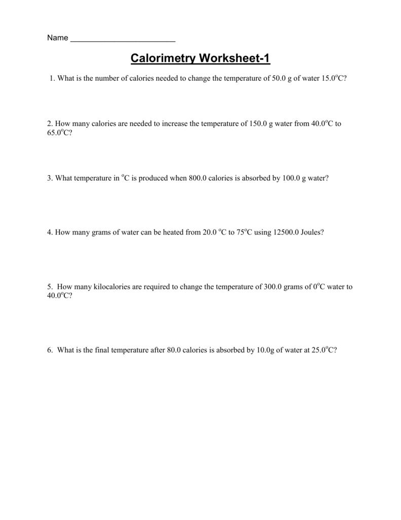 worksheet Calorimetry Worksheet 1 Answers calorimetry ws1 2