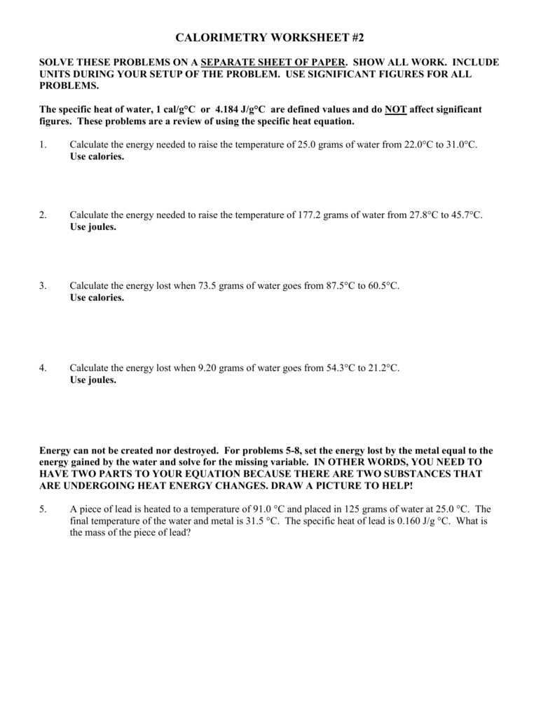 CALORIMETRY WORKSHEET #2