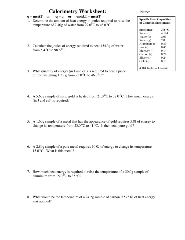 Calorimetry practice problems worksheet answers