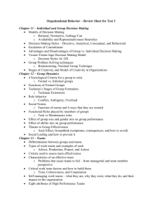 Organizational Behavior – Review Sheet for Test 3 Chapter 11