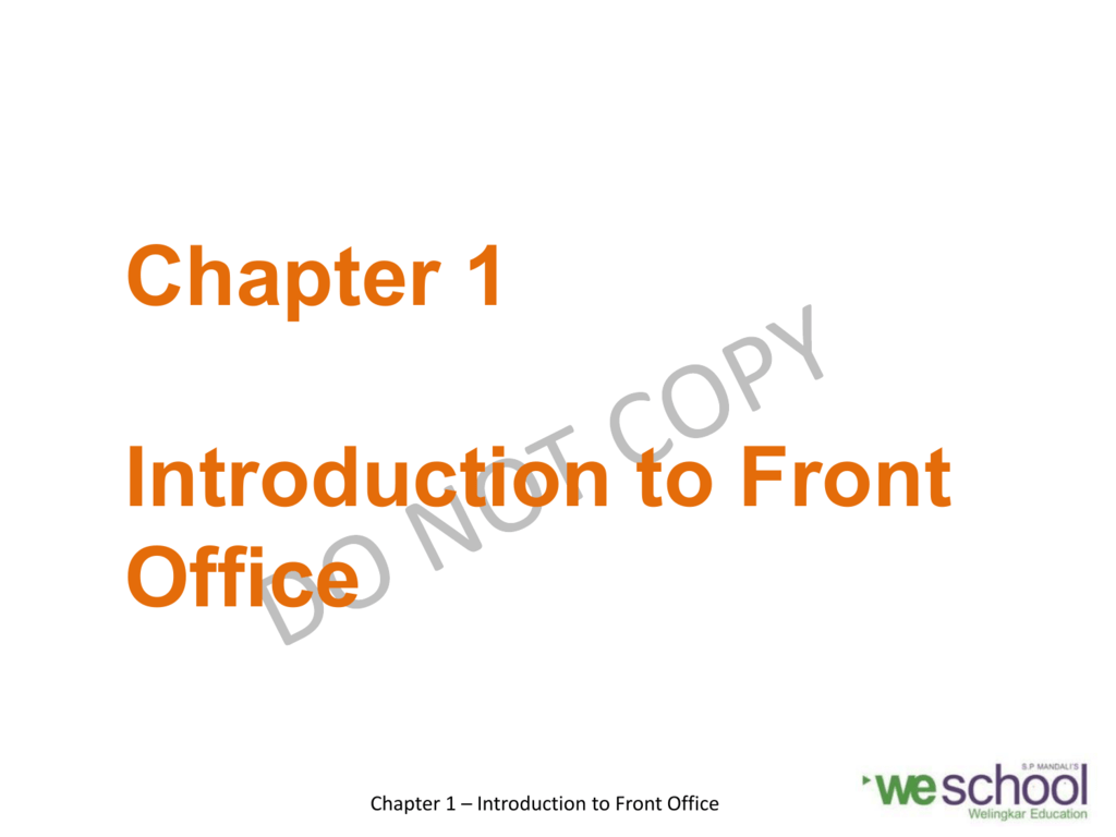 Chapter 1 - Introduction to Front Office