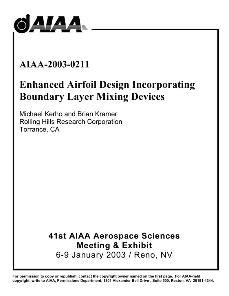 Enhanced Airfoil Design Incorporating Boundary Layer Mixing