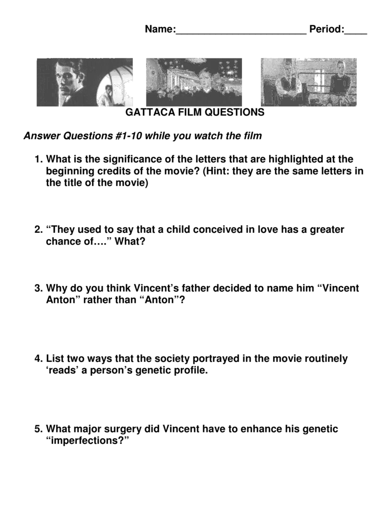 Worksheets Gattaca Worksheet Answers name period gattaca film questions answer questions