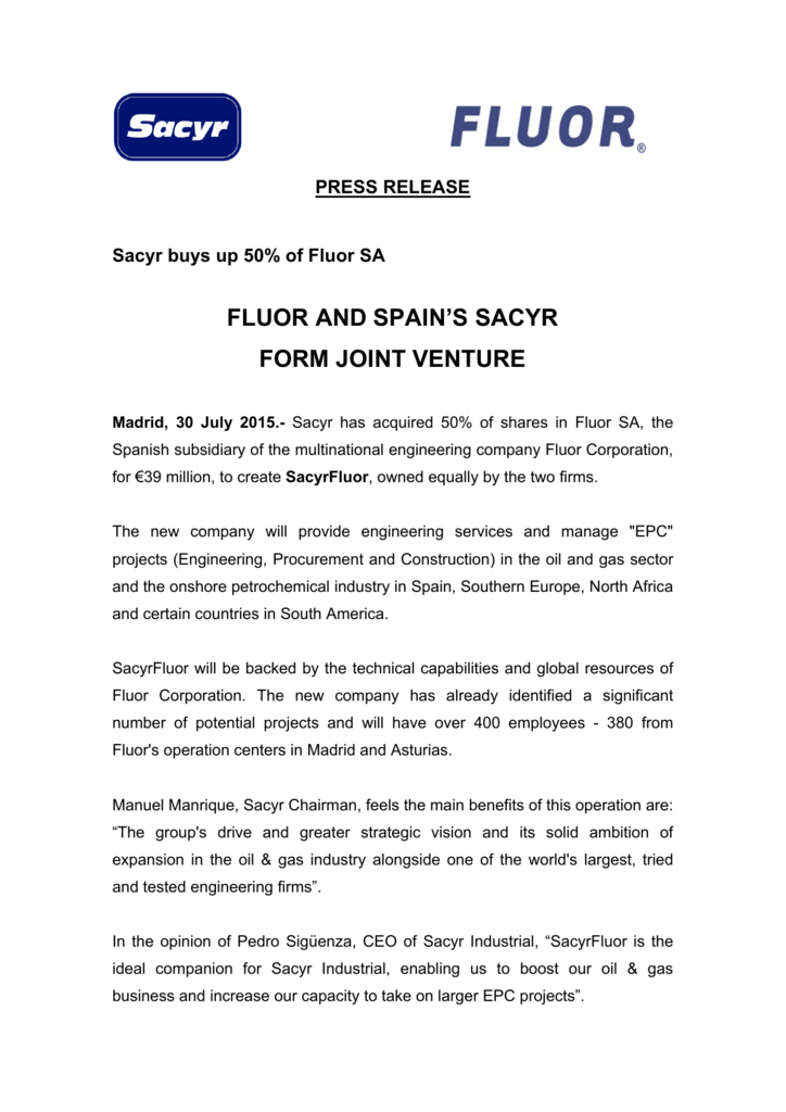 N P_ Fluor and Spain's Sacyr form joint venture
