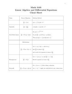 Math 3195 Linear Algebra and Differential Equations Cheat Sheet