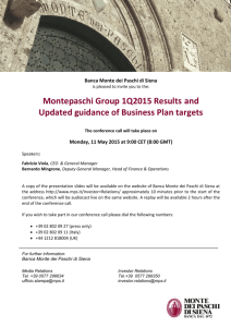Montepaschi Group 1Q2015 Results and Updated guidance of Business