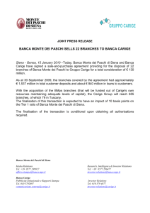 draft press release - Gruppo Banca Carige