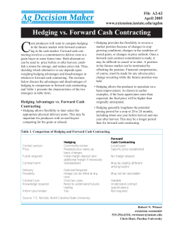 Hedging vs. Forward Cash Contracting