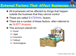 External Factors That Affect Businesses
