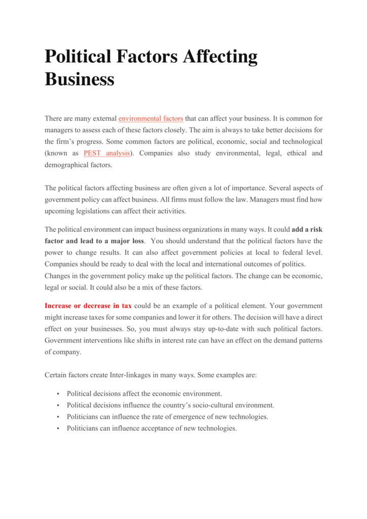Political Factors Affecting Business