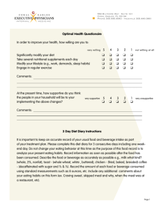 Optimal Health Questionaire In order to improve your health, how