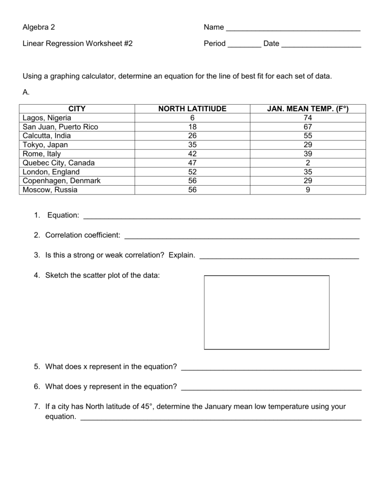 Algebra 2 Name Linear Regression Worksheet 2 Period