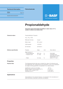 Propionaldehyde - Alcohols & Solvents BASF