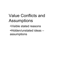 Value Conflicts and Assumptions