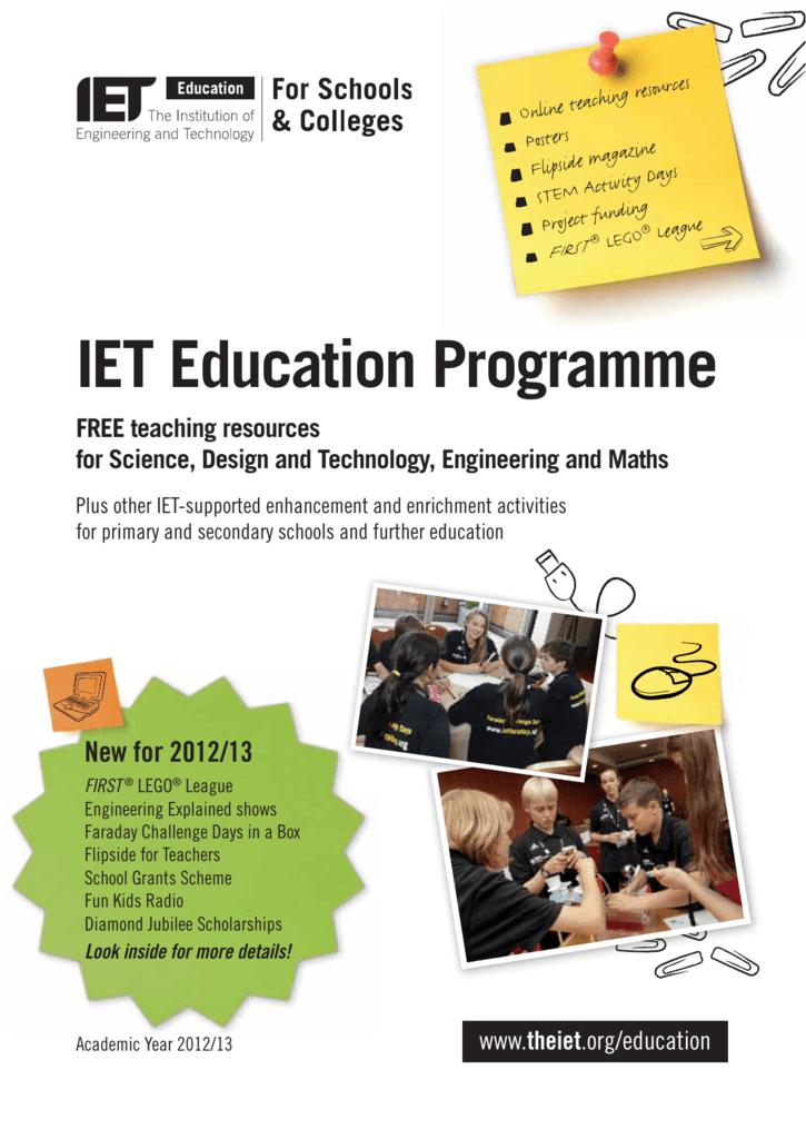 IET Education STEM Brochure - IET Faraday