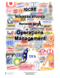 IGCSE Business Studies Revision Notes Operations - Business-TES
